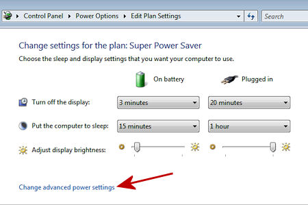 Adjust your Battery Power Settings
