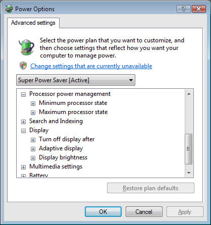 Power Options - Extend your Battery Life