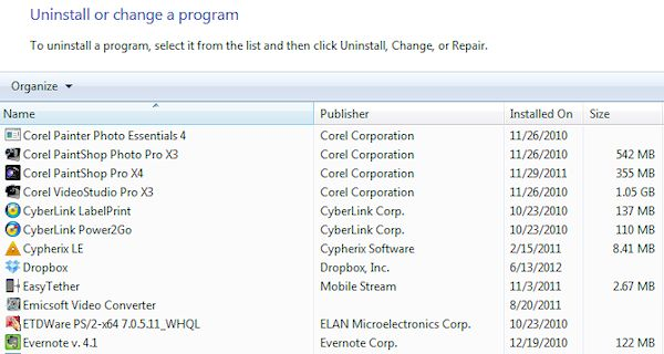 Uninstall Programs (Windows 7)